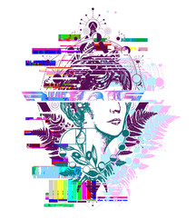 Glitch tattoo. Magic woman goddess Aphrodite tattoo. Scientist tattoo and t-shirt design. Science and education tattoo. Statue of Aphrodite. Symbol of waporwave, retro wave music, glitch art