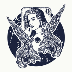 Girl and сrossed tattoo machine. Queen playing card. Tattoo salon concept