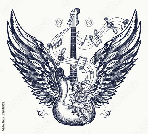 Guitar And Wings Tattoo Electric Guitar Roses Angel Wings And