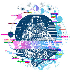 Astronaut in the lotus position glitch tattoo art. Symbol of meditation, harmony, yoga. Spaceman and Universe glitch art t-shirt design
