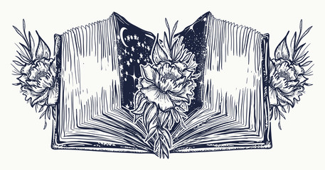 Open book and roses flowers  tattoo and t-shirt design. Symbol of education, literatures, poetry, reading. Open book in universe art tattoo