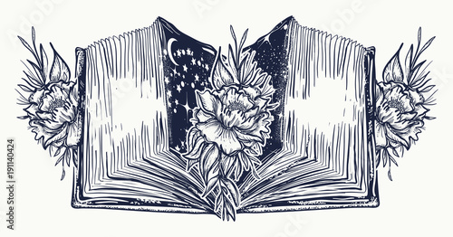 Open Book And Roses Flowers Tattoo And T Shirt Design Symbol Of