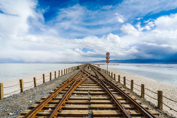 Railroad and Saline Lake in Qinghai