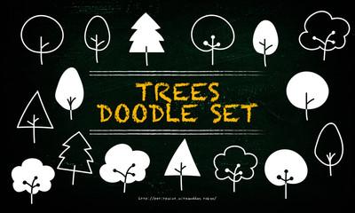 木々の手描きイラスト
