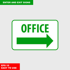 Enter and exit, arrow, this way, safety speed sign in vector style version, easy to use and print on board