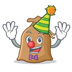 Clown sack mascot cartoon style