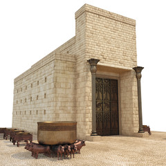 Keuken foto achterwand Bedehuis King Solomon's temple with large basin call Brazen Sea and bronze altar on white. 3D illustration