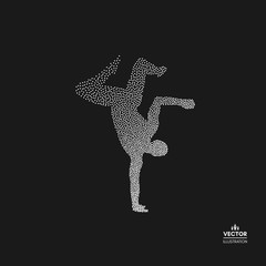 Gymnast. Man is posing and dancing. Dotted silhouette of person. Vector illustration.