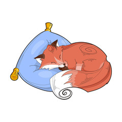Vector image of a cute fox on a pillow isolated on a white background