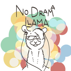 Cute card with cartoon llama. Motivational and inspirational quote. Doodling illustration