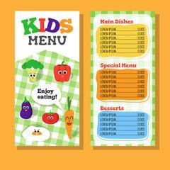 2 pages Kids menu design with vegetable for restaurant