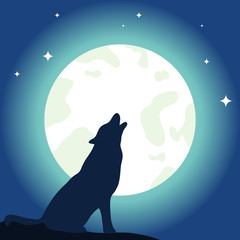 The wolf howls to the moon. Moon and wolf.