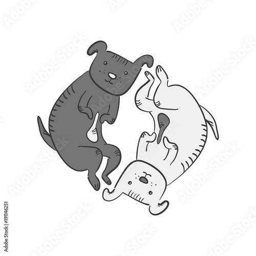 Cute Funny Cartoon Yin And Yan Dogs Symbol Black And White Sketchy