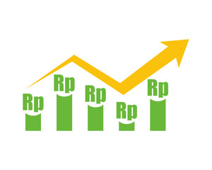 rupiah chart currency finance money price image vector icon