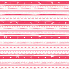 Hand drawn illustration seamless striped pattern with heart shapes