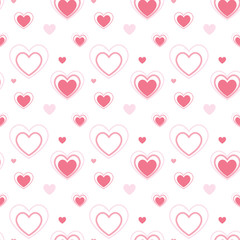 Lovely pink heart shape illustration seamless pattern