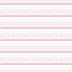 Pink illustration dashed line heart shape pattern