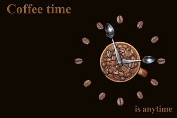 "Clock with coffee beans. "" Coffee time is anytime. "" Black background."