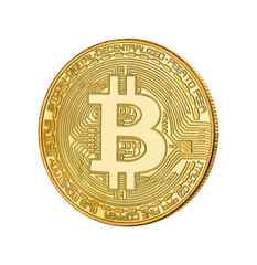 Face of the crypto currency golden bitcoin on  white background