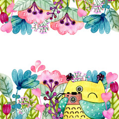 Watercolor funny illustration with owl and flowers.