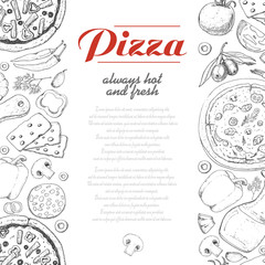 Vertical background with pizza and various products