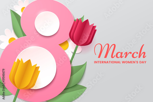 8 march womens day vector greeting card with decor of paper cut womens day vector greeting card with decor of paper cut tulips chamomiles m4hsunfo