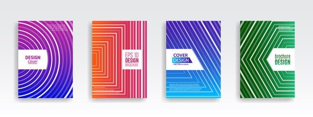 Abstract minimal covers design template. Geometric halftone gradients background. Vector templates for flyers, presentations and brochure.