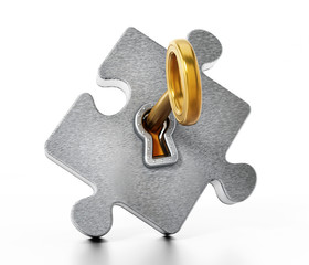 Golden key unlocking metallic puzzle piece. 3D illustration