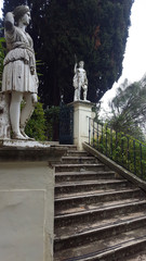 Sculptures of the park of Achilleion palace of Empress of Austria Elisabeth of Bavaria in Corfu island, Greece