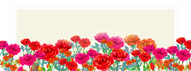 Painting watercolor happy spring, red pink color flowers of roses.