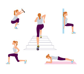 Woman doing exercising workout. Plank, running upstairs, squat, lunges vector illustration.