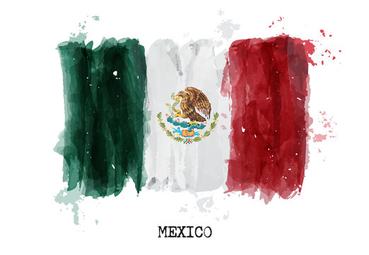Watercolor painting flag of Mexico . Vector