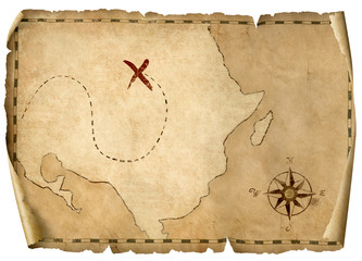 Wall Mural - treasure pirates' old map isolated 3d illustration