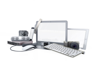 collection of consumer electronics 3D render on white background no shadow