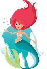 Beautiful Mermaid Vector Cartoon Illustration