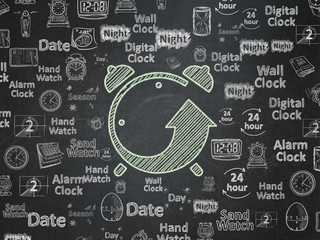 Time concept: Chalk Green Alarm Clock icon on School board background with  Hand Drawing Time Icons, School Board