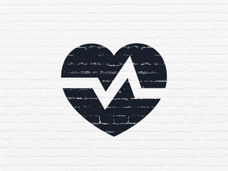 Health concept: Painted black Heart icon on White Brick wall background