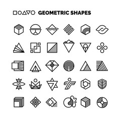 Universal black and white geometric vector shapes isolated for graphic design