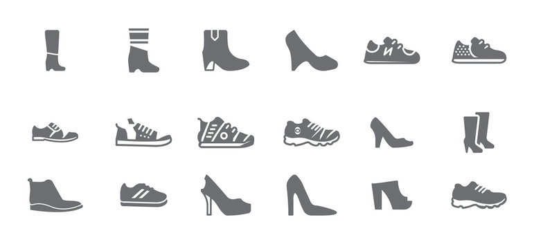 Variety of shoes and woman shoes isolated flat vector icon set