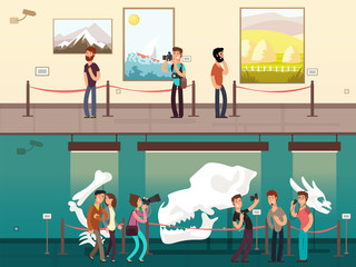 Cartoon museum gallery exhibition with painting, science exhibits and people visitors vector illustration