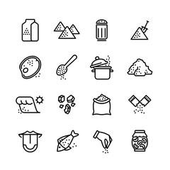 Salt vector line icons set