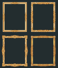 Decorative vintage golden vector frames. Old shiny luxury gold borders