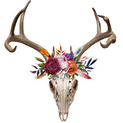 Fotorolgordijn Aquarel schedel deer skull with floral wreath