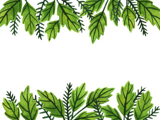 Watercolor green leaves. Hand painted card template
