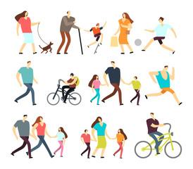 Men and women walking outdoor. Vector cartoon active characters in various lifestyles in street
