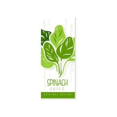 Creative hand drawn label with green leaves of spinach. Healthy vegetarian drink. Vegetable beverage. Hand drawn vector design for juice packaging