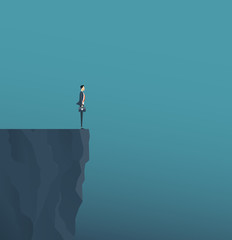flat vector concept businessman standing on mountain cliff ,and business obstacle concept