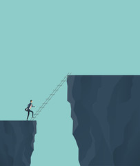 flat vector concept for business finance investment risk with businessman cross the cliff .concept