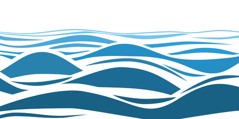 Blue water sea waves abstract vector background