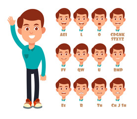 Talking lips sync animation. Cartoon vector speaking mouth and boy portrait isolated